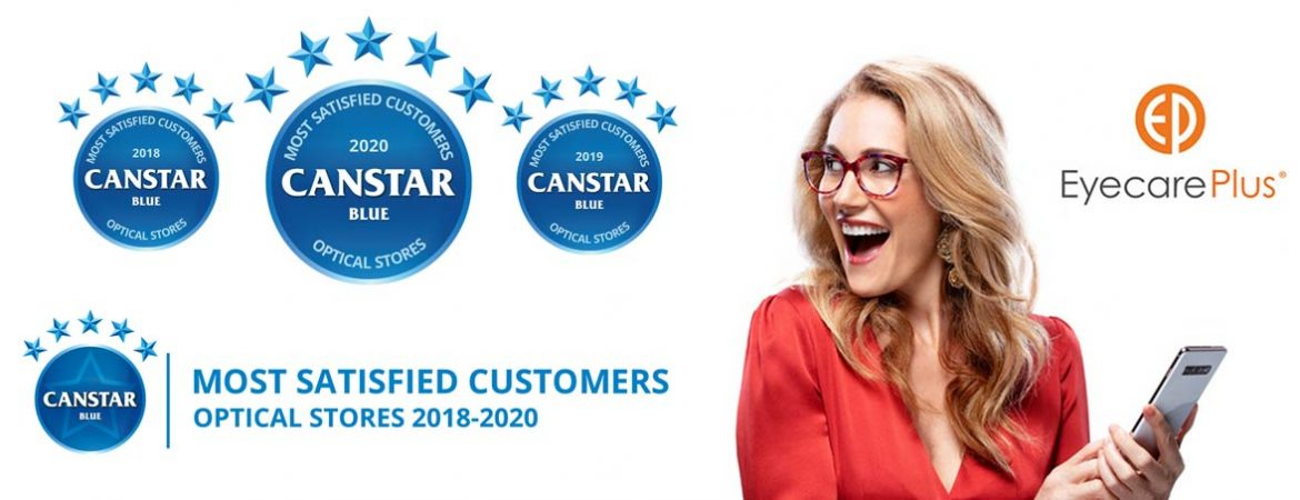 'Canstar Blue - Most Satisfied Customers, 2018-2020 - Optical Stores' Slideshow slide